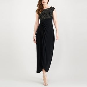 Women's Gown Petite Shimmer Ruched